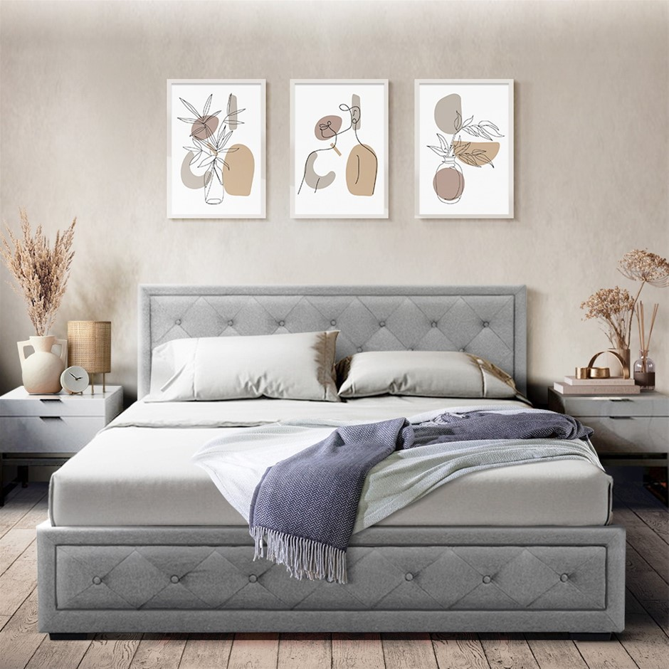 Artiss TIYO Queen Size Gas Lift Bed Frame Mattress Grey Fabric