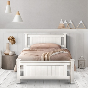 Artiss Single Size Wooden Bed Frame - Wh