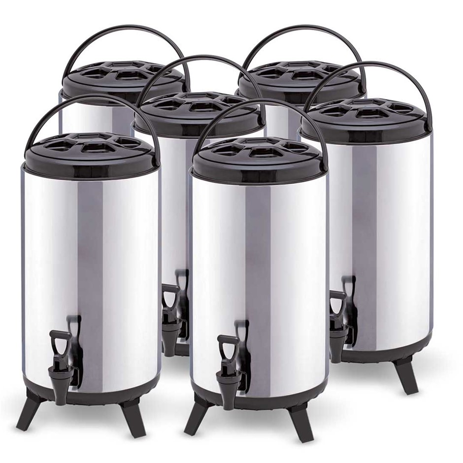 SOGA 6x 12L Portable Insulated Coffee Tea Beer Barrel Brew Pot W/ Dispenser