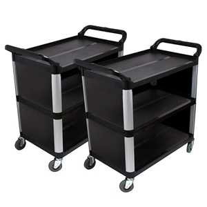 SOGA 2X 3 Tier CoveFood Trolley Food Was