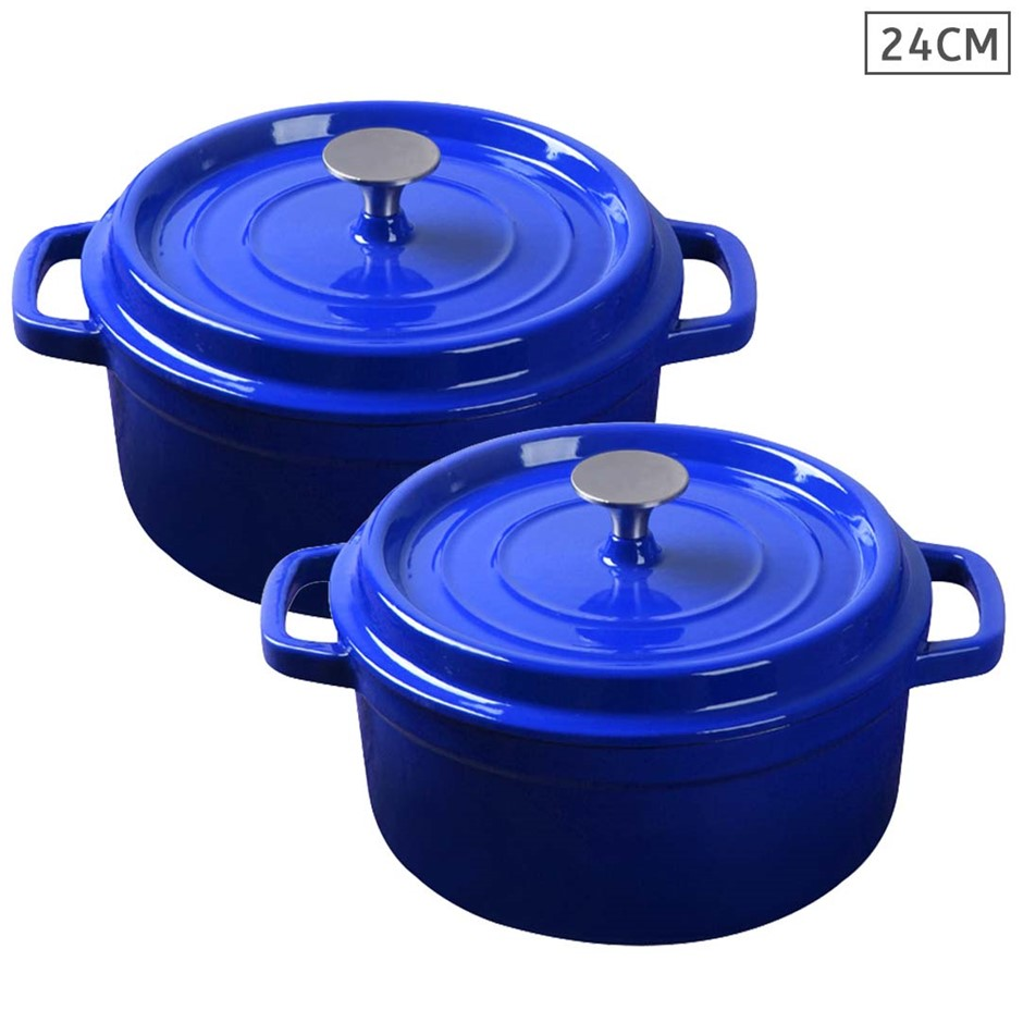 SOGA 2X Cast Iron 24cm Enamel Porcelain Stewpot Casserole Stew W/ Lid
