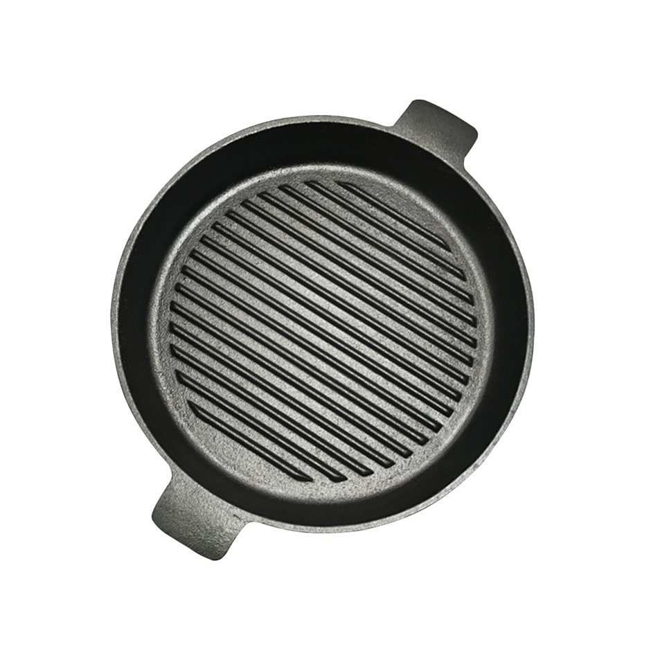 SOGA 26cm Round Ribbed Cast Iron Frying Pan Skillet Non-stick w/ Handle
