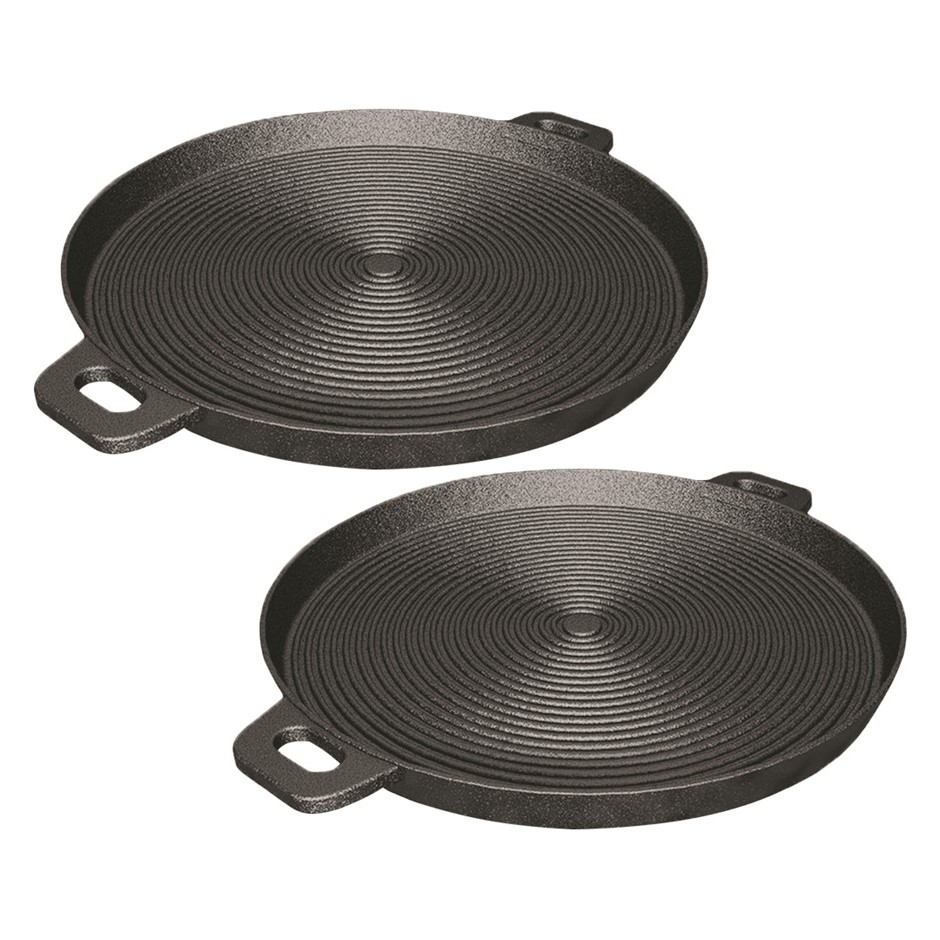 SOGA 2X 40cm Round Ribbed Cast Iron Frying Pan Skillet Non-stick w/ Handle
