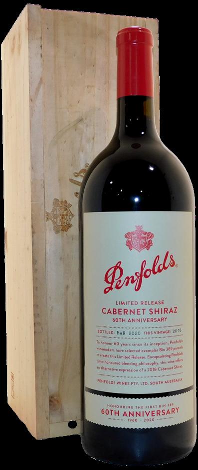 Penfolds Bin 389 60th Anniversary Cabernet Shiraz 2018 (1x 1.5L), SA