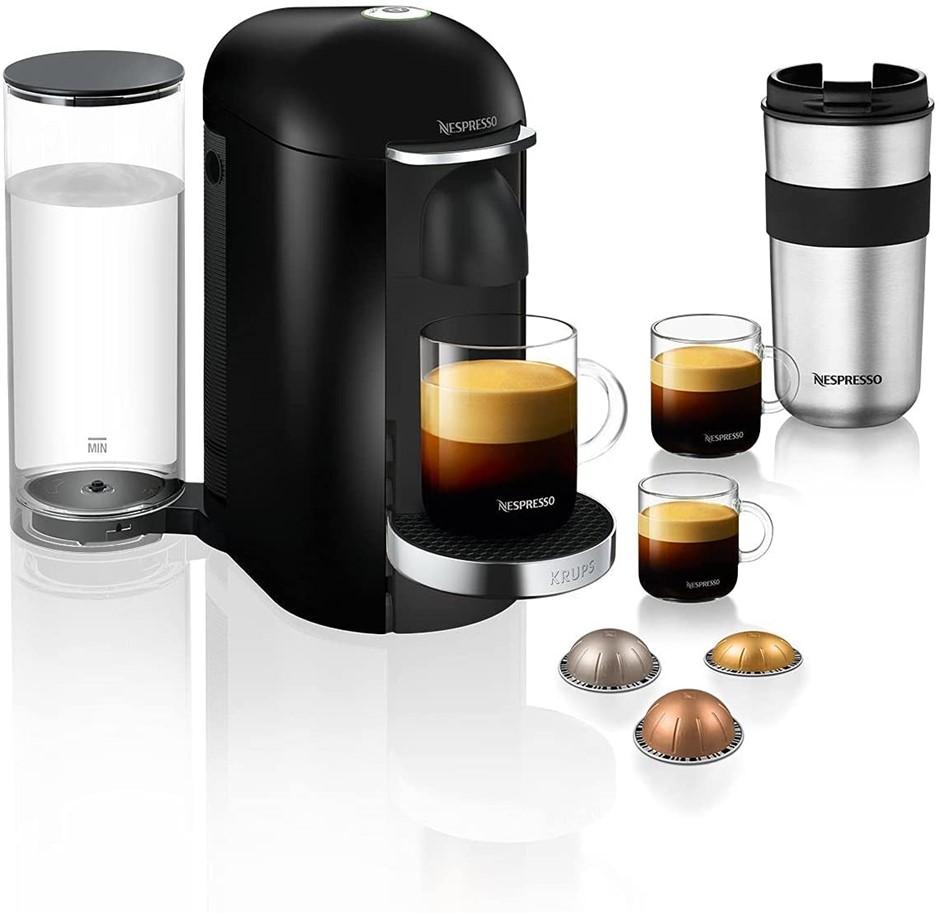 NESPRESSO Krups Vertuo Plus Pod Coffee Machine, Black, 1.7L Capacity. NB: W