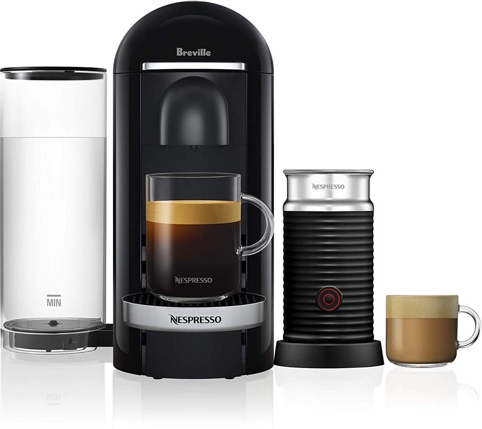 NESPRESSO Vertuo Plus Deluxe Bundle Coffe Machines, Colour: Black, Model: B