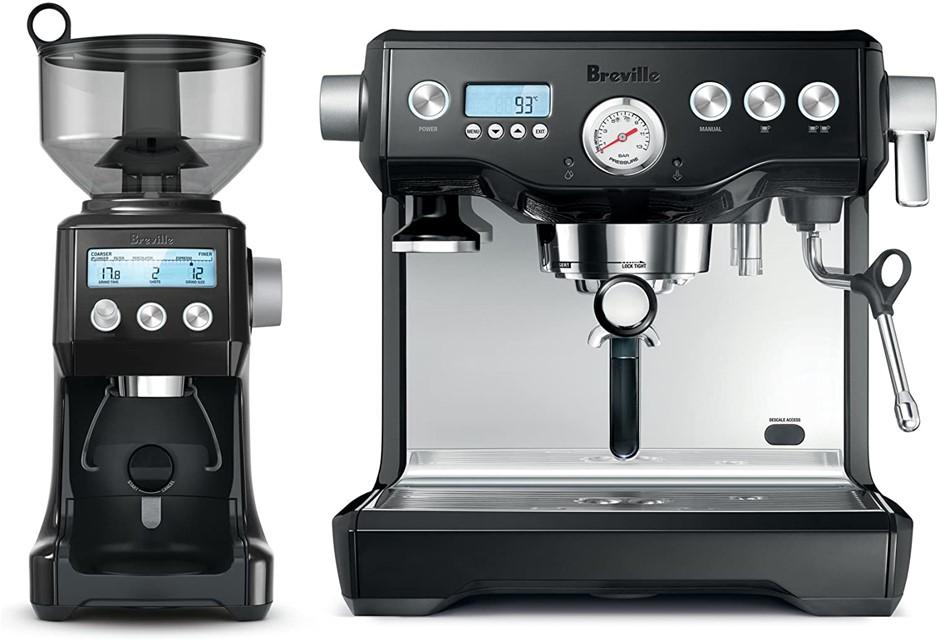 BREVILLE The Dynamic Duo Espresso Machine with Grinder, Colour: Black Sesam