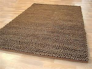 Chunky Wool Shag Rug Brown 225x155cm