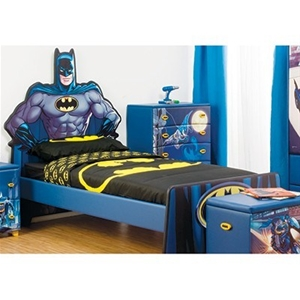 Buy single bed frame colourful mdf kids furniture with batman print headboard graysonline - Batman bedroom furniture ...