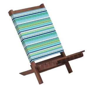 Wooden Blue Colourful Stripes Low Rise Beach Chair