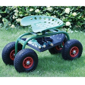 rolling work garden cart seat with tool tray - Garden Cart With Seat