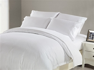 1200 TC Fitted Sheet Single White Stripe