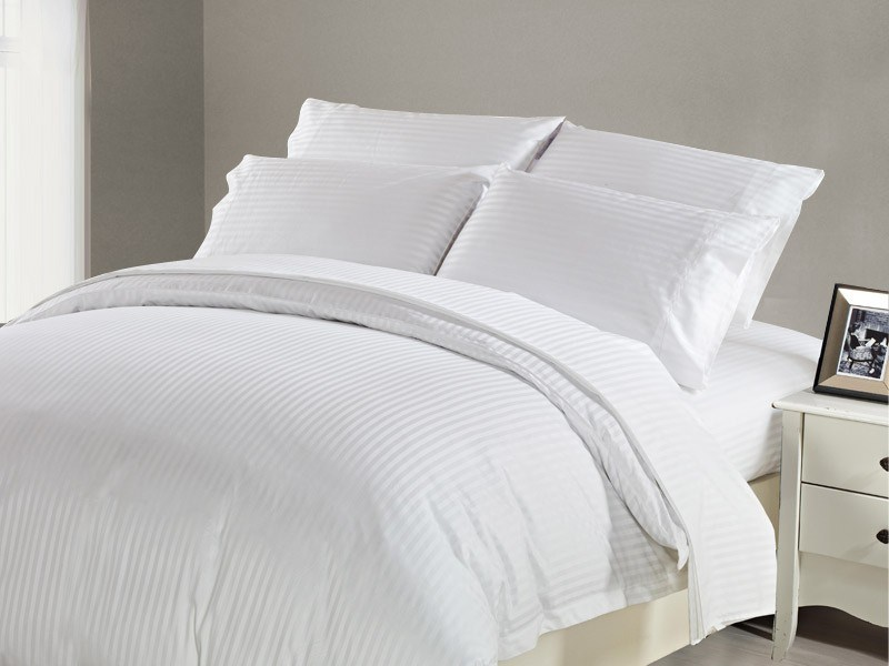 1200 TC Flat Sheet King White Stripe