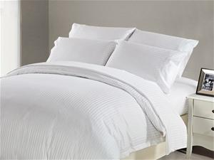 1200 TC Flat Sheet King White Stripe