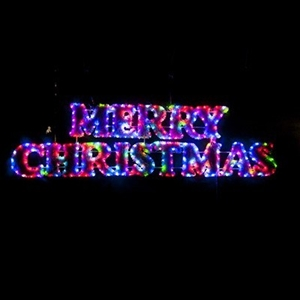 led tinsel merry christmas rope light display
