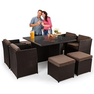 9 Piece Wicker Outdoor Furniture Dining