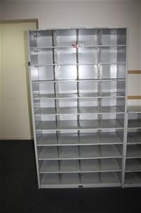 Qty 2 Metal Plastic Grey Pigeon Hole Storage Units