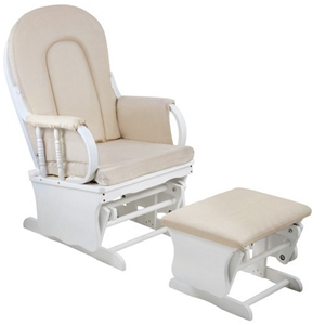 Buy Baby Breast Feeding Sliding Glider Chair With Ottoman White Beige Grays