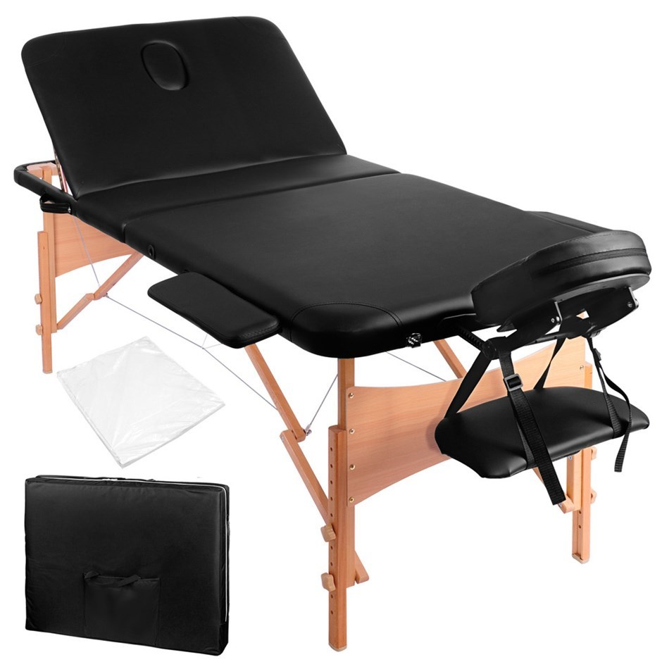 Livemor 3 Fold Portable Wood Massage Table - Black