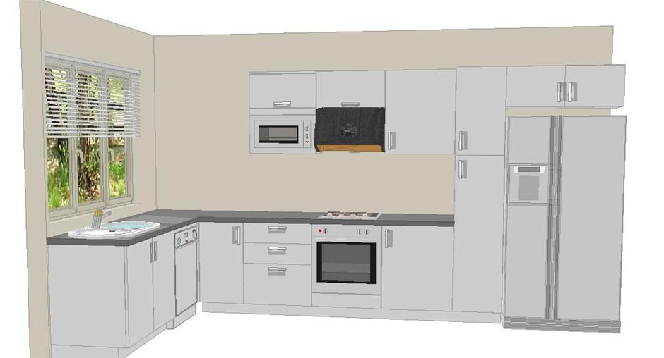 L-shape Gloss White Polyurethane Kitchen Cabinet Set ...
