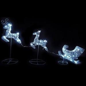 LED Glitter Reindeer with Sleigh Christm