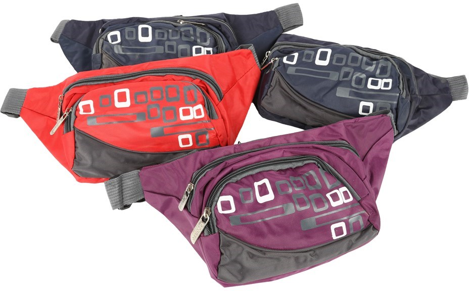 4 x Nylon Waist Zip Bags, Mixed Colours. Buyers Note - Discount Freight Rat