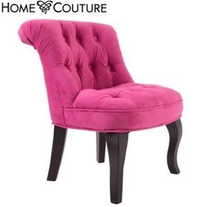 Unigift William Kids Velvet Chair Hot Pink