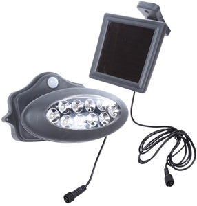 Outdoor Wall Lamp Motion Led Sweden Dark Grey : LED Solar Wall Light with Motion Detector, Separable Solar Panel, 10 x Whit Auction GraysWine ...