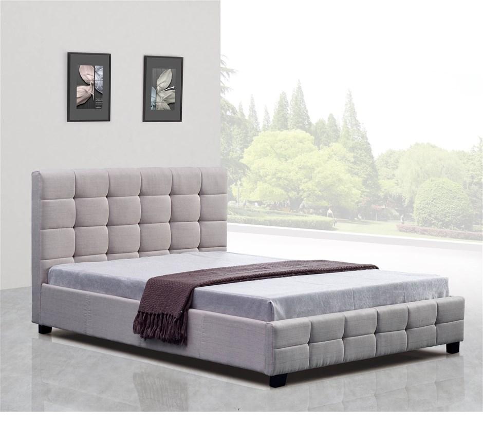 Linen Fabric Double Deluxe Bed Frame Beige