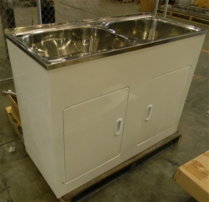Double Laundry Sink With Cabinet : Laundry Tub double bowl in stainless steel with 2 door metal cabinet ...