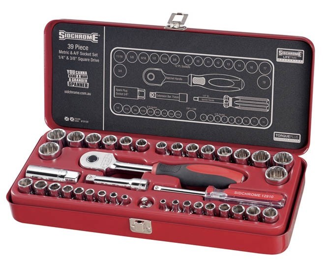 SIDCHROME 39pc Metric & A/F Socket Set, 1/4 & 3/8, Contents: See Image. Buy