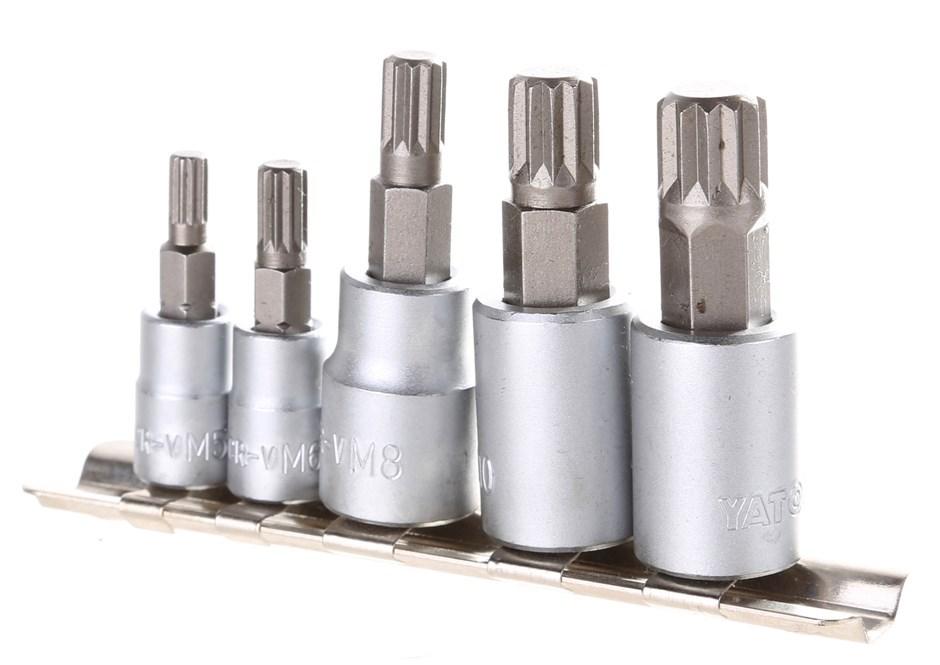 YATO 5pc Spline Bit Socket Set 3/8`` & 1/4`` Drive Size: M5, M6, M8, M10, M