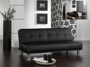 Modern Wooden Sofa Bed : Buy Modern Faux Leather Wooden Frame Black Sofa Bed  GraysOnline ...