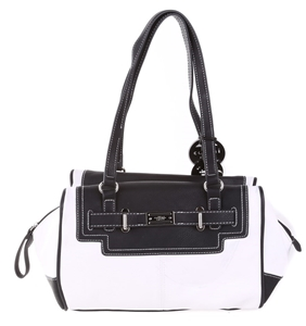 Cellini Sport Las Black White Leather Handbag N B Light Marks From Str