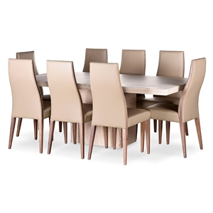 Brilliant Alex Travertine Dining Table Beige Leather Chairs Setting Machost Co Dining Chair Design Ideas Machostcouk